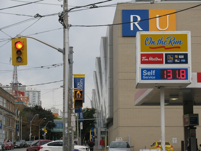 Ryerson University. Also, in Canada, gasoline is charged by the liter. And that's 131.8 cents. I was so confused at first.