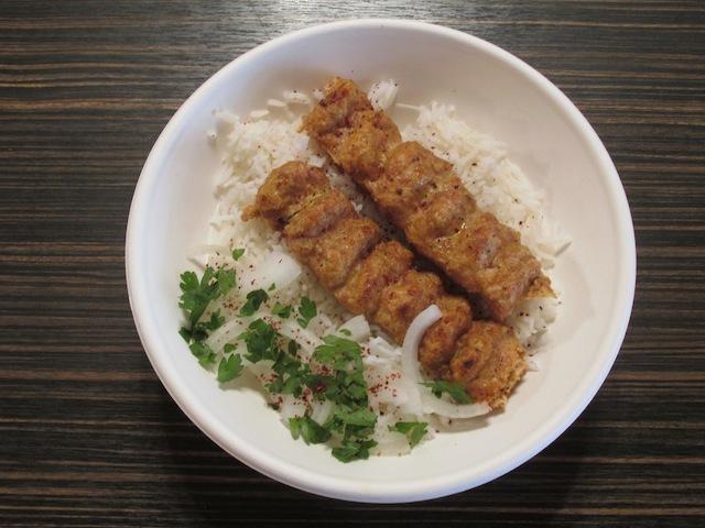 Lala's Kitchen. Chicken koobideh - skewered ground chicken broiled to perfection.