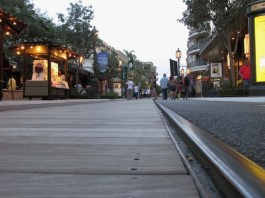 Low angle of the trolley track