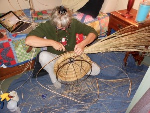 Weaving like mad--Each coil takes me a full two hours to weave. Granted, I am slow, but weaving a skep takes patience.
