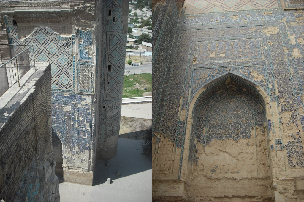 The remains of the huge (65m) gate house of the Ak Sarai, covered in blue, gold and white tiles