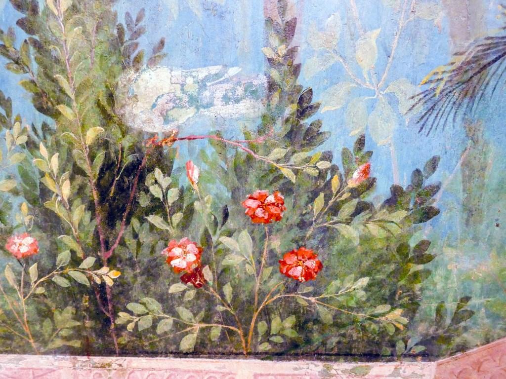 Livia's garden fresco. Detail of Rosa gallica.