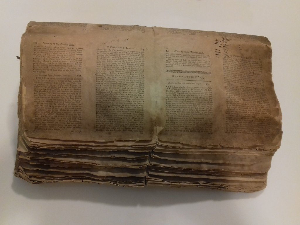Addison's Notes on Paradise Lost, used to store and transport plant specimens on the Endeavour back from Madeira.