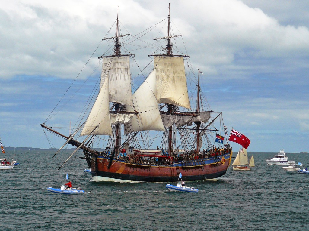 Replica of HM Bark Endeavour, completed in 1994.