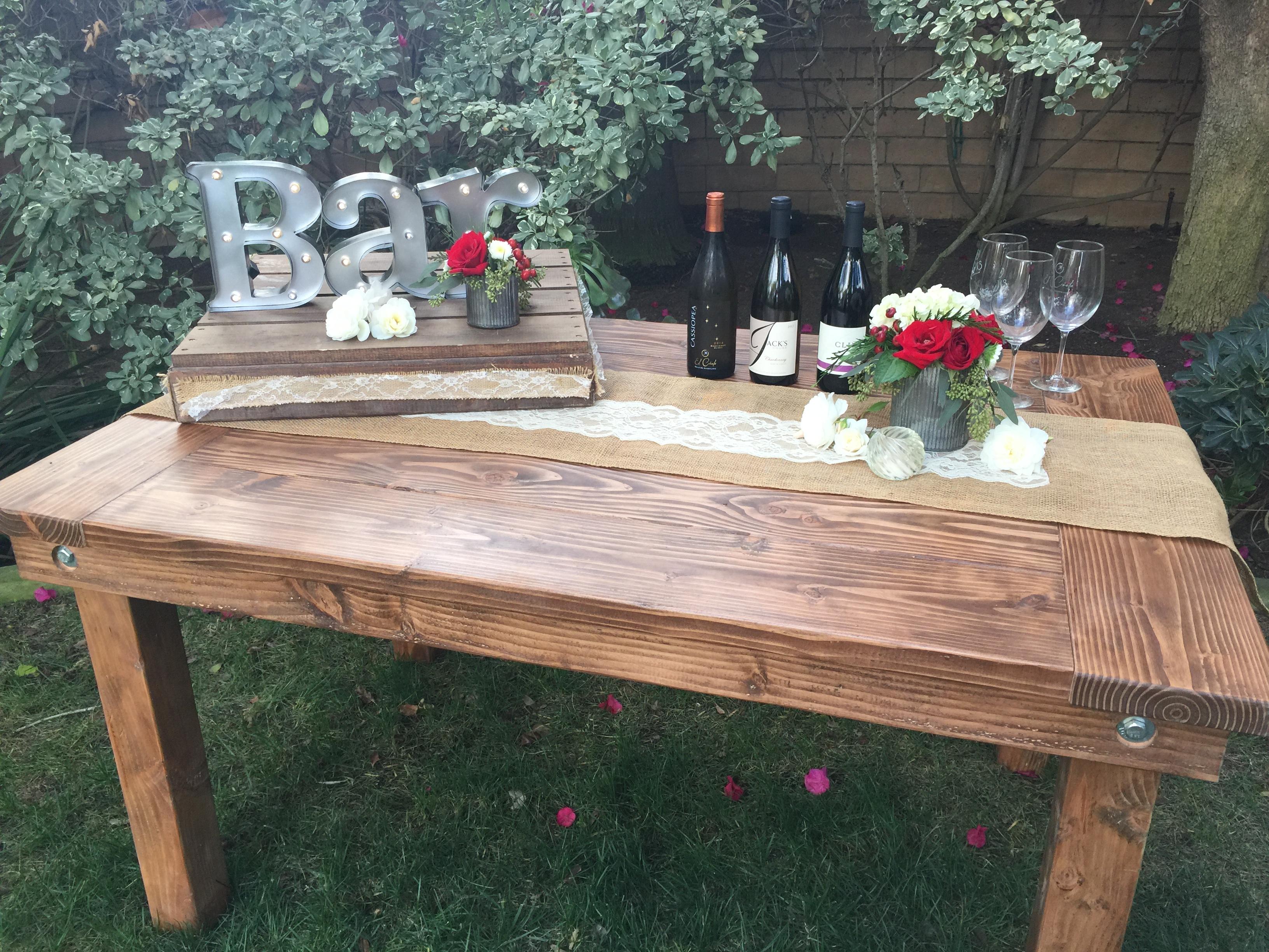 Rustic Farm Table Rentals San Diego Backyard Cedars Events