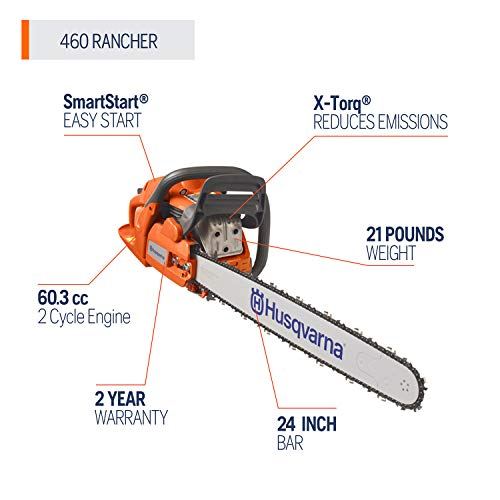 Husqvarna 24 Inch Rancher Gas Chainsaw with 2 Cycle Oil Husqvarna 24 Inch 460 Rancher Gas Chainsaw with 2 Cycle Oil, Orange.