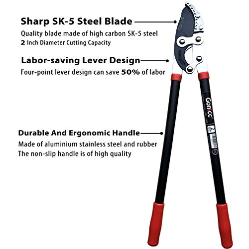 gonicc Professional 30 inch SK-5 Steel Blade Anvil Lopper gonicc Professional 30 inch SK-5 Steel Blade Anvil Lopper, 2-Inch Cutting Capacity, Sturdy Professional Extra Leverage 22-Inch Handles, Garden Pruning Tree Hedge Branch Cutter Trimmer Clippers..
