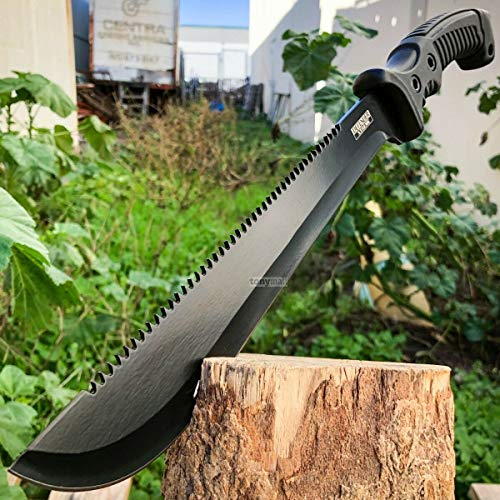 "tonymall 16"" Full Tang Sharpened Tactical Machete Knife tonymall 16"" Full Tang Sharpened Tactical Machete Knife with Sheath Hunting Survival Bowie Fixed Blade Military Defender Extreme Man Knives (Black)."