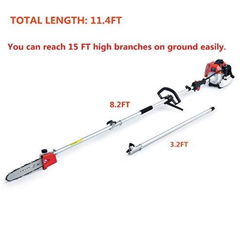 Maxtra Pole Saw,Powerful Gas Pole Chainsaw Maxtra Pole Saw,Powerful Gas Pole Chainsaw 42.7CC 2-Cycle 8.2 FT to 11.4 FT Cordless Extension Pole Saw Tree Trimmer Long Reach Saw with Carry Bag.