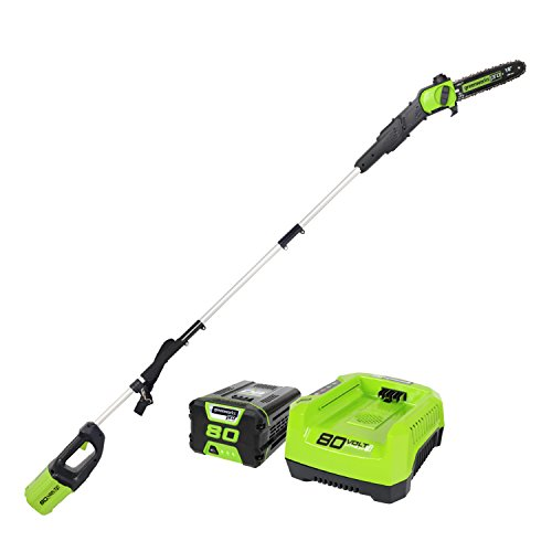 "Greenworks PRO 80V 10"" Brushless Cordless Polesaw, 2Ah Battery Included"
