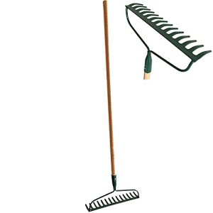 #1 HEAVY-DUTY Garden Bow Rake Wood Handle Landscape Cultivator Gardening