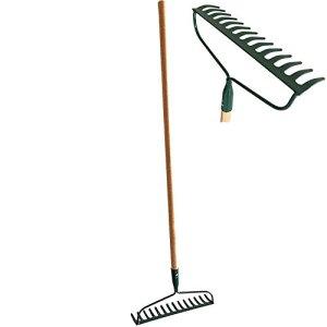 #1 HEAVY-DUTY Garden Bow Rake Wood Handle Landscape Cultivator Gardening