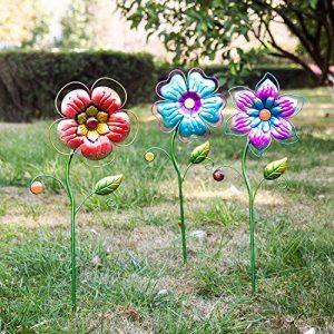 Garden Stake Outdoor Plant Pick Cute Metal Flower Stick Art Ornament Decor