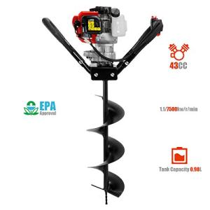 XtremepowerUS 43cc Gas Posthole Digger One Man Auger Post Hole Digging Fence