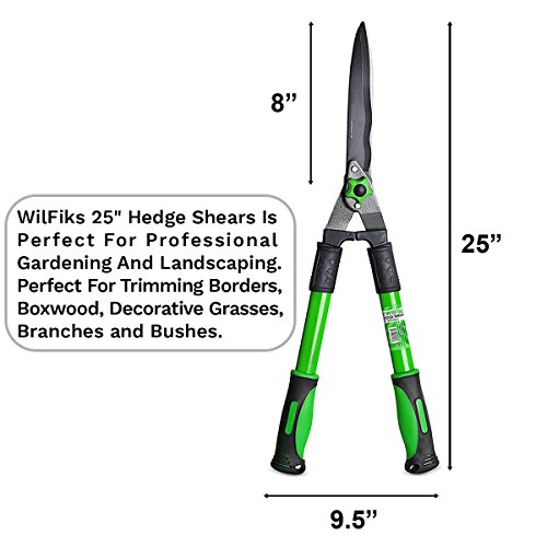 WilFiks Hedge Shears for Professional Gardening and Landscaping With WilFiks, Gardening Hedge Shears are an important software in your house for excellent outcomes each time. Your backyard would be the speak of the city with these hedge clippers that ship sharp, easy cuts for clear outcomes that rapidly slices by means of grass and bushes for sooner, prettier and above all more healthy landscaping.