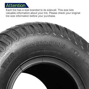 Set of 4 Lawn Mower Turf Tires 15x6-6 Front & 18x9.5-8 Rear Tractor Riding Set of 4 Lawn Mower Turf Tires 15x6-6 Front & 18x9.5-8 Rear Tractor Riding, 4PR, Tubeless.