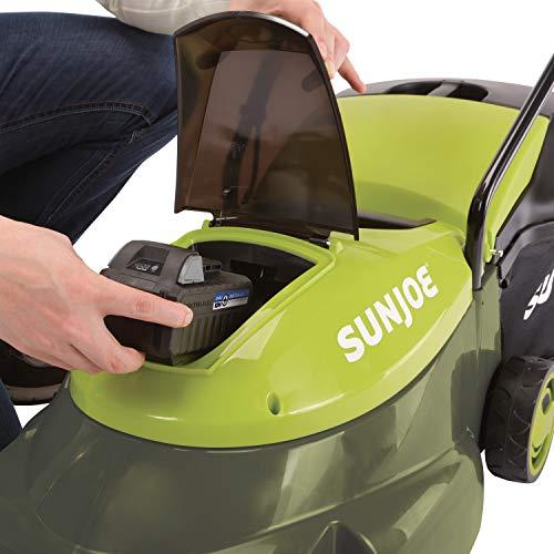 Sun Joe 24-Volt 5-Amp 14-Inch Cordless Brushless Motor Lawn Mower Sun Joe MJ24C-14-XR 24-Volt 5-Amp 14-Inch Cordless Brushless Motor Lawn Mower, Green.