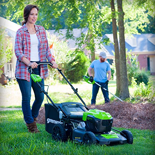 GreenWorks 40V 20-Inch Cordless 3-in-1 Lawn Mower GreenWorks MO40L410 G-MAX 40V 20-Inch Cordless 3-in-1 Lawn Mower with Smart Cut Technology, (1) 4Ah Battery and Charger included.