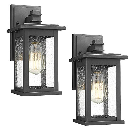 Emliviar Outdoor Wall Mount Lights 2 Pack, 1-Light Exterior Sconces Lantern