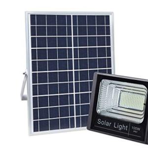 100W Solar Flood Light Outdoor Dusk to Dawn with Remote Control
