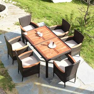 Tangkula 7 PCS Outdoor Patio Dining Set, Garden Dining Set