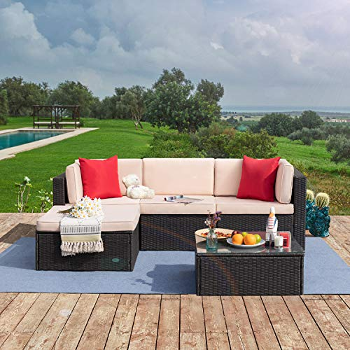 Tuoze 5 Pieces Patio Furniture Sectional Set Outdoor All-Weather PE Rattan Wicker