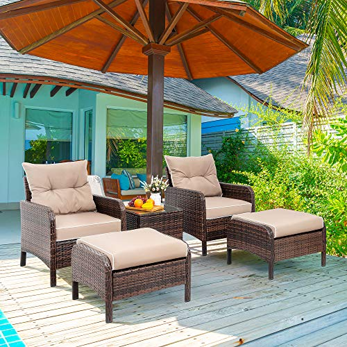 Viogarden 5 Piece Patio Conversation Set, Small PE Wicker Outdoor Chat Set