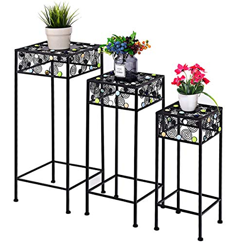 Giantex Set of 3 Plant Stand Metal and Ceramic Indoor Outdoor Flower Pot Rack