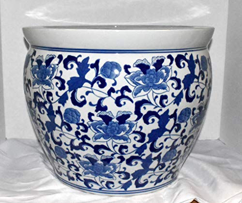 """New 16"""" Oriental Blue and White Asian Flowers Floral Fish Bowl Jardiniere Planter"""