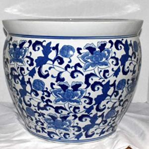 "New 16"" Oriental Blue and White Asian Flowers Floral Fish Bowl Jardiniere Planter"
