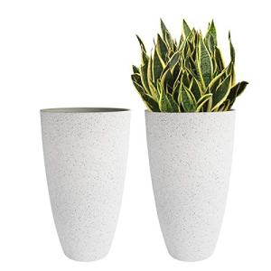 """Resin Large Tall Round Planters - 20"""" Big Flower Tree Pot with Drainage"""