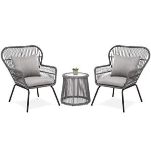 Best Choice Products 3-Piece Patio Wicker Conversation Bistro Set