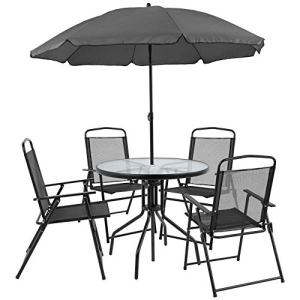 Flash Furniture Nantucket 6 Piece Black Patio Garden Set with Table