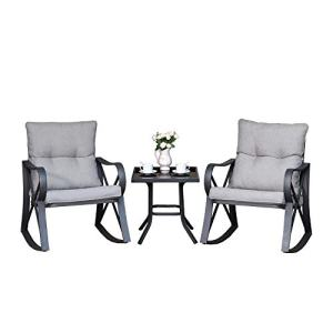 COSIEST 3 Piece Bistro Set Patio Rocking Chairs Outdoor Furniture