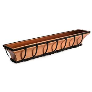 H Potter Window Planter Box Flower Outdoor Copper Plant Container