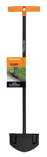 Fiskars 38.5 Inch Long-handle Steel Edger Ideal for edging walkways and gardens Steel blade slices cleanly through dense turf Large foot platform makes it easy to maximize force with your body weight Long shaft makes edging easy for anyone who has trouble kneeling or bending Make edging a breeze with an innovative tool that is more effective than traditional edgers and easier to use than power edgers. The extended reach design of our edger means you won't have to kneel or bend down to reach the borders of gardens and walkways like you would with traditional edgers. Since there's no gasoline, you won't be bothered by the noise, fumes and refueling hassles that come with power edgers. A steel blade with a sharp edge cuts cleanly through dense turf, a large foot platform makes it easy to maximize cutting force, and a dual-handle design provides comfortable use and enhanced control.