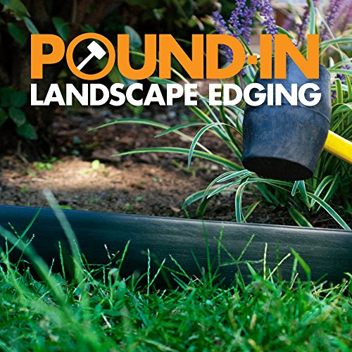 Dimex LandShark Pound-in Plastic Landscape Edging Project Kit EASYFLEX LANDSHARK POUND-IN LANDSCAPE EDGING: Create a beautifully landscaped yard without having to hire a professional - landscape edging with minimal ground preparation KIT INCLUDES: 20 foot serrated coil of black landscape edging, 2 heavy duty anchoring stakes to keep the ends of the edging in place, and 1 connecting sleeve DO-IT-YOURSELF: Score the ground about 2 inches deep around your design, place the edging in desired location and gently push or hammer with the serrated edge facing down FLEXIBLE: Flexible, yet sturdy plastic allows the edging to be installed in a straight line or molded to create tight curves CUSTOMIZABLE LENGTH: For shorter lengths, simply measure out the amount needed for your project and cut with garden shears - or create a larger design by using the included stakes to join multiple coils LandShark Pound-In Landscape Edging is an innovative new landscape border from Dimex that provides a easier solution to traditional coiled edging. LandShark Pound-In Edging is easy to install right out of the box. No excessive straightening or heating in the sun to make it flexible. Works great for both straight and curved landscape designs. LandShark Pound-In Edging has a durable straight wall design. There is no unsightly hollow beaded top. Everything included to do a 20 ft. installation. For installation remove from box and uncoil. Lay edging along desired layout. For best installation results it is recommended to score the ground with a hand shovel or flat spade shovel. Using a rubber mallet hammer on top edge to desired depth. Connection sleeve is included for installations involving multiple coil lengths. If the ground is hard and compacted it is recommended to wet installation area prior to installation.