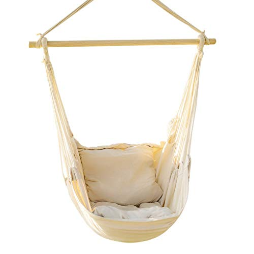 EverKing Hanging Rope Hammock Chair Porch Swing Seat, Large Hammock Net Chair Swing, Cotton Rope Porch Chair for Indoor, Outdoor, Garden, Patio, Porch, Yard - 2 Seat Cushions Included (White)