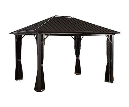 Sojag 10' x 14' Genova Hardtop Gazebo 4-Season Outdoor Shelter with Mosquito Net, Black,Brown
