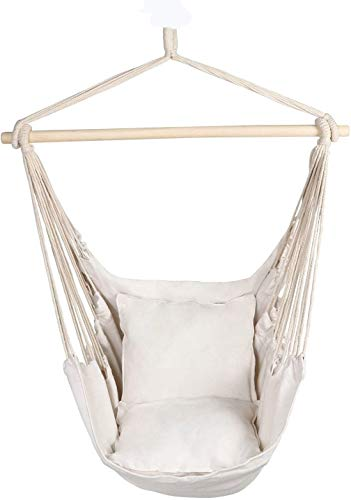 BCGI Hanging Rope Hammock Chair Swing Seat, Large Brazilian Hammock Porch Chair with 2 Seat Cushions Included for Yard, Bedroom, Patio, Porch, Indoor, Outdoor Max 260 Lbs (1-White)