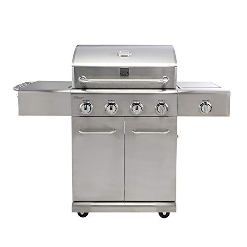 Kenmore PG-40405S0LA Stainless Steel 4 Burner Outdoor Patio Gas BBQ Propane Grill With Side Burner in , Stainless Steel