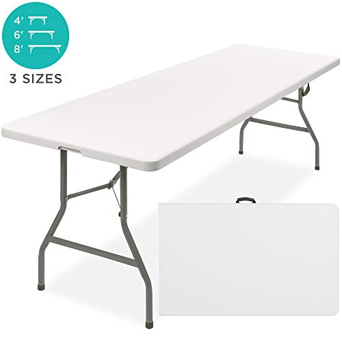 Best Choice Products 8ft Indoor Outdoor Portable Folding Plastic Dining Table w/Handle, Lock for Picnic, Party, Camping