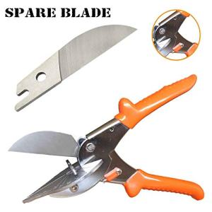 Multi Angle Miter Cutter   Plus Spare Blade   Hand Shear Multipurpose Tool   Cuts 45-135 Degrees   Stainless Steel with Rubber Handle & Safety Lock   Also Called Trim, Chamfer & Quarter Round Cutters