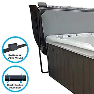 Puri Tech Cover Lifts - Fold Bottom or Deck Mount Spa & Hot Tub Cover Lift Removal System Mounting Brackets Black Powder Coated Aluminum Structure Fits Most Spas & Hot Tubs