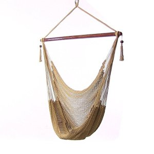 Sunnydaze Hanging Rope Hammock Chair Swing - Caribbean Style Extra Large Hanging Chair for Backyard & Patio - Tan