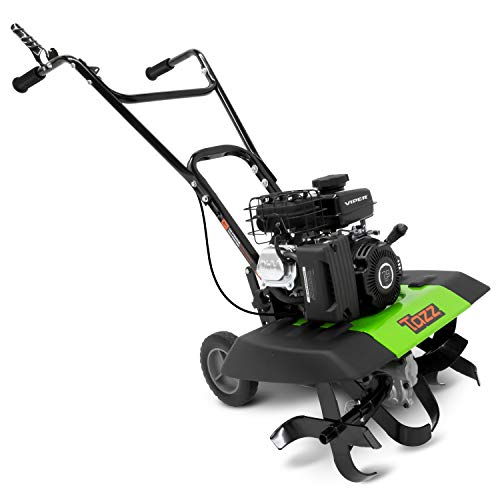 """Tazz 35310 2-in-1 Front Tine Tiller/Cultivator, 79cc 4-Cycle Viper Engine, Gear Drive Transmission, Forged Steel Tines, Multiple Tilling Widths of 11"""", 16"""" & 21"""", Toolless Removable Side Shields,Green"""