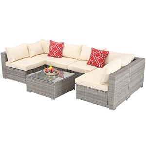 Furnimy 7 PCS Outdoor Patio Furniture Set Cushioned Sectional Conversation Sofa Set Rattan Wicker Gray with Tempered Glass Coffee Table and 2 Red Pillows (Beige)