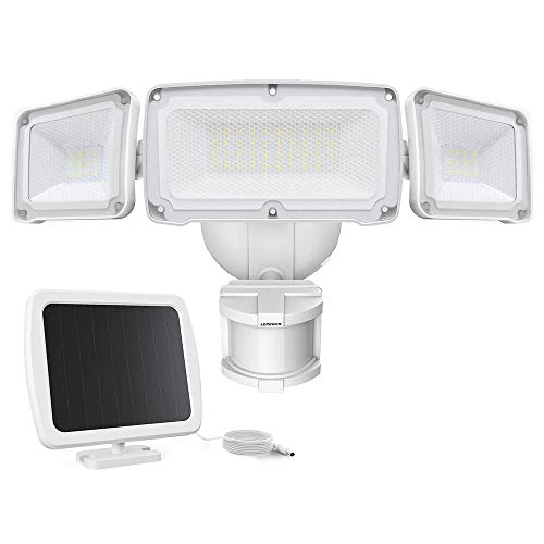 LEPOWER 1600LM LED Solar Security Lights Motion Outdoor, Super Bright Solar Motion Sensor Light, 5500K White Light, IP65 Waterproof Flood Light with 3 Adjustable Head for Yard, Garage