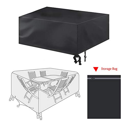 bigzzia Patio Furniture Set Cover, Rattan Cube Set Cover 420D Oxford Fabric Patio Table Cover Windproof Anti-UV with 4 Fixing Buckles for Garden Tables Chairs 180 x 120 x 74cm