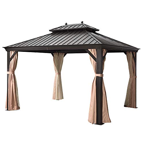 PURPLE LEAF 10' X 12' Outdoor Galvanized Steel Hardtop Double Top Permanent Gazebo Canopy Curtains Aluminum Frame Patio Garden Gazebo with Netting